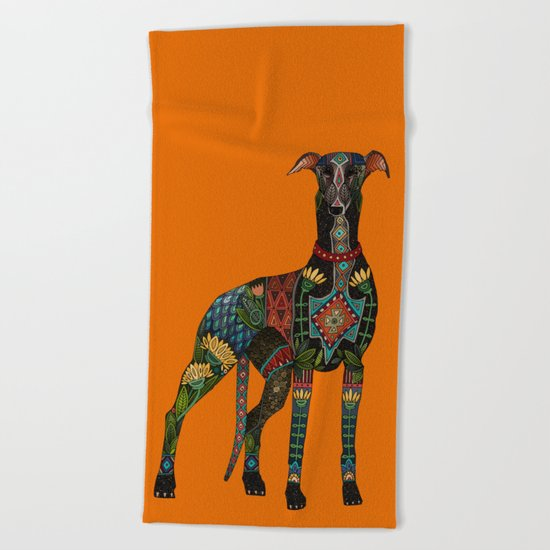 greyhound orange Beach Towel