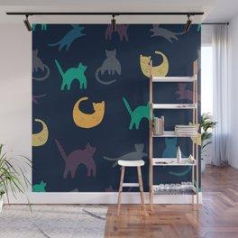 Colourful cat art pattern Wall Mural