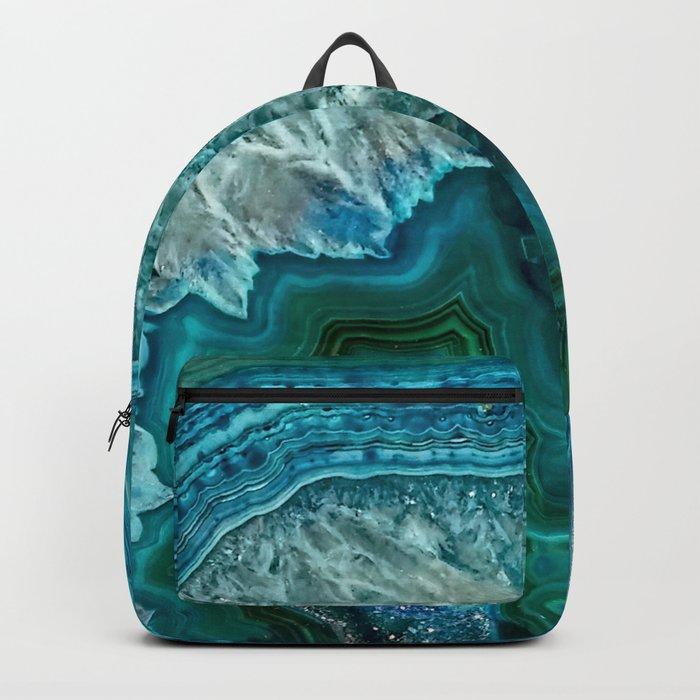 Aqua turquoise agate mineral gem stone Rucksack