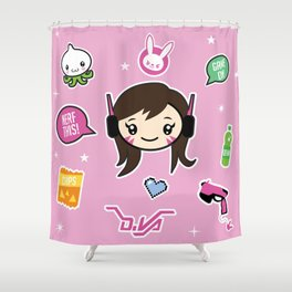 Cute Robot Lady Shower Curtain