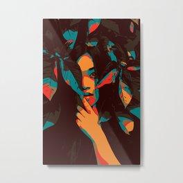 Woman looks trough leaves Metal Print