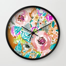 SO LUSCIOUS Colorful Abstract Floral Wall Clock