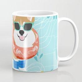 Corgi Pool Party Summer Fun Dog Costume Beach Ball Corgi Dog Design Coffee Mug