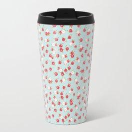 English Rose Pattern on Blue Travel Mug