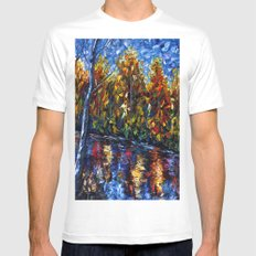 The River Song (Palette Knife MEDIUM Mens Fitted Tee White