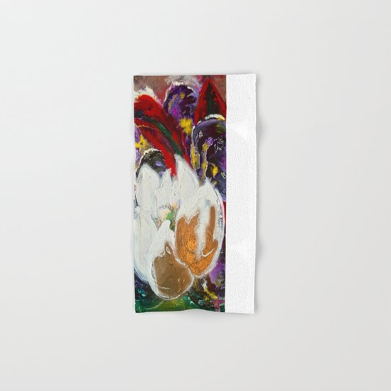 Purple Peonies in Gold with Red Hand & Bath Towel