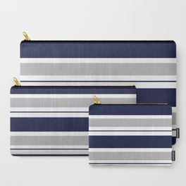Navy Blue and Grey Stripe Carry-All Pouch