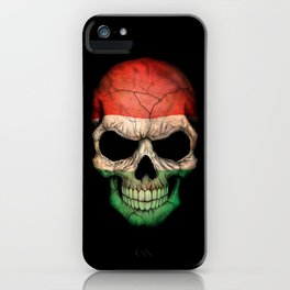 Dark Skull with Flag of Hungary iPhone Case