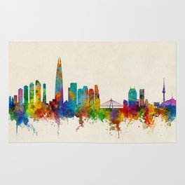 Seoul Skyline South Korea Rug