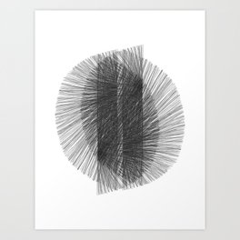 Mid Century Modern Geometric Abstract Black & White Radiating Lines Art Print