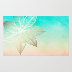 Gold Flower on Turquoise & Pink Watercolor Rug