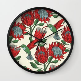 Protea with Hummingbird / Sunbird (Cream) Wall Clock
