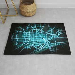 Shreveport, LA, USA, Blue, White, Neon, Glow, City, Map Rug