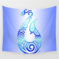 hook Wall Tapestries featuring Tribal Fish Hook by artsytoocreations