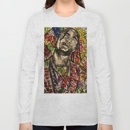 La flame,music,hiphop,poster,astro world,tour,wall art,artwork,painting,colourful Long Sleeve T-shirt