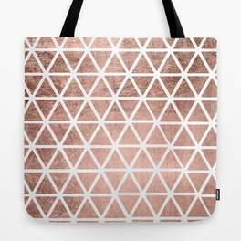 Geometric faux rose gold foil triangles pattern Tote Bag