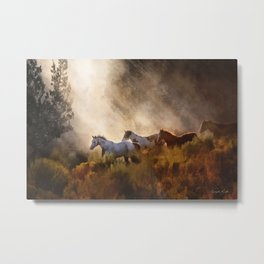Horses in a Golden Meadow by Georgia M Baker Metal Print