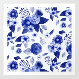 blue and white watercolor floral Art Print