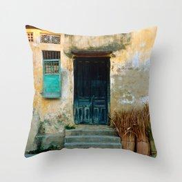 VIETNAMESE FACADE of HOI AN Throw Pillow