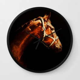 Horse Wall Art, Horse Portrait Over a Black background, Horse Photography, Closeup Horse Head Wall Clock