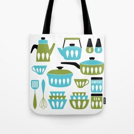 My Midcentury Modern Kitchen In Aqua And Avocado Tote Bag
