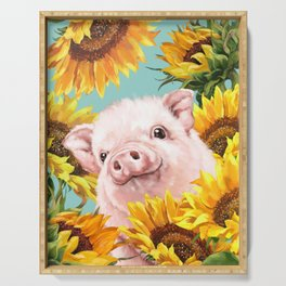 Baby Pig with Sunflowers in Blue Serving Tray
