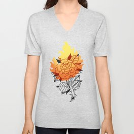 Burning Rose Unisex V-Neck