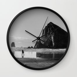 Walking on Cannon Beach Oregon Wall Clock