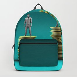 Finance Wealth Increase with Business People Standing on Chart of Gold Coins Backpack