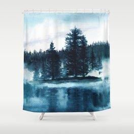 Misty lake watercolor landcape Shower Curtain