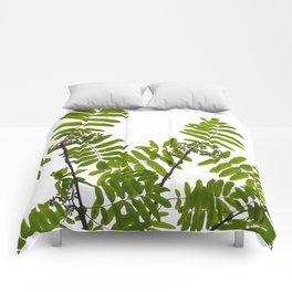 Green Rowan Leaves White Background #decor #society6 #buyart Comforters