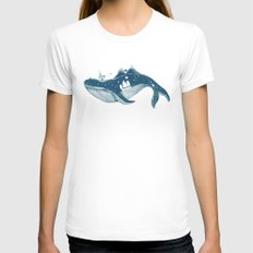 Home (A Whale from Home) White Womens Fitted Tee MEDIUM