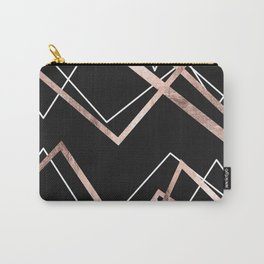 Rose Gold Black Linear Triangle Abstract Pattern Carry-All Pouch