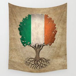 Vintage Tree of Life with Flag of Ireland Wall Tapestry