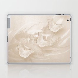 Fabulous butterflies and wattle with textured chevron pattern in subtle iced coffee Laptop & iPad Skin