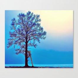 Blue Tree Landscape Airbrush Artwork Canvas Print