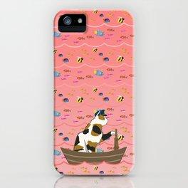Captain Cat in pink iPhone Case