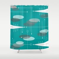 mid century modern Shower Curtains featuring Mid-Century Modern Ovals Teal by Kippygirl