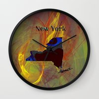 new york map Wall Clocks featuring New York Map by Roger Wedegis