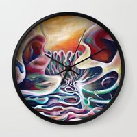 teen titans Wall Clocks featuring Meeting of the Titans by Graham Matthews