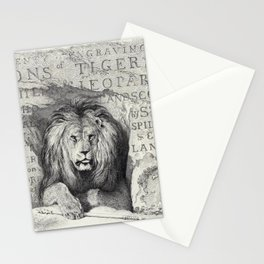 Vintage Lion etching Stationery Cards