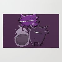 gengar Area & Throw Rugs featuring Pokémon - Number 92, 93 & 94 by Aniforce