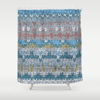 knitting Shower Curtains featuring KNITTING #4 by NADEZDA FAVA