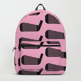 Golf Club Head Vintage Pattern (Pink/Black) Backpack