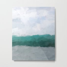 Aqua Teal Turquoise Sky Blue White Gray Abstract Wall Art, Painting Art, Water Surf Ocean Waves Metal Print