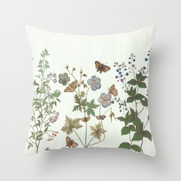 The fragility of living - botanical illustration Throw Pillow