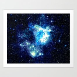 Galaxy NEbula. Teal Turquoise Blue Aqua Art Print