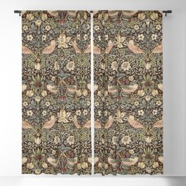 William Morris Vintage Strawberry Thief Brown Chocolate Slate Blackout Curtain
