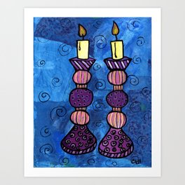 Shabbat Candles Art Print