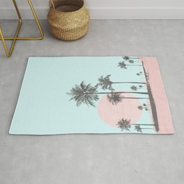 Beachfront palm tree soft pastel sunset graphic Rug